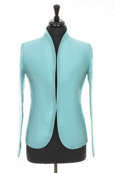 bright turquoise aqua raw silk jacket, women's blazer, silk wedding outfit, plus size mother of the bride outfit, party outfit