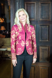 pink mother of the bride jacket, floral cashmere blazer, alternative wedding guest outfit
