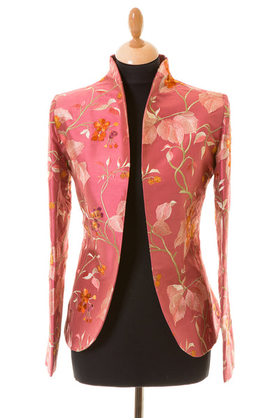 rose pink embroidered silk floral jacket, women's tailored blazer, silk wedding outfit, plus size mother of the bride outfit, wedding guest jacket, silk opera jacket