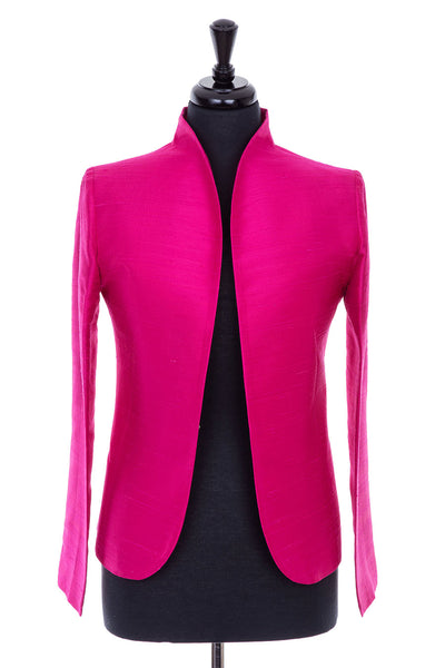 hot pink raw silk blazer for women, mother of the bride jacket, silk opera outfit, fitted blazer, silk special occasion wear