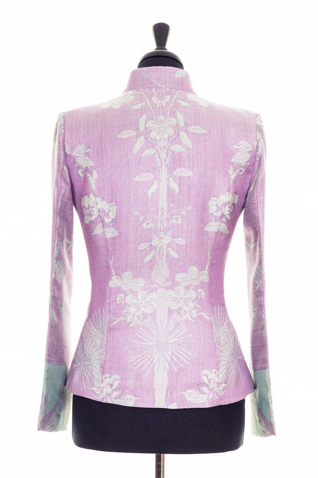lilac cashmere jacket, lilac mother of the bride outfit, floral cashmere fitted blazer, summer wedding guest jacket, tree of life, lilac opera outfit