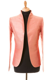 blush pink rose gold raw silk fitted jacket, mother of the bride outfit, pink silk jacket for the opera