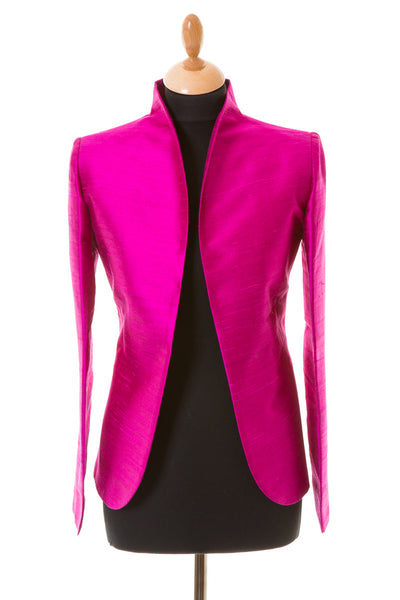 bright magenta pink raw silk fitted jacket, alternative mother of the bride outfit, plus size wedding guest outfit with trousers, special occasion jacket, silk opera jacket for women, party outfit