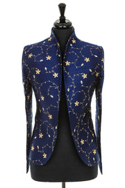 blue and gold embroidered silk tailored jacket for women, winter wedding mother of the bride outfit, wedding guest jacket with trousers, plus size smart jacket, silk opera outfit, jacket for the races