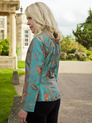 smart teal embroidered silk jacket, special occasion jacket, mother of the bride outfit