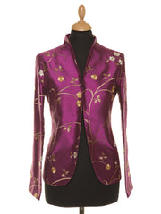 bright magenta embroidered silk jacket for women, plus size mother of the bride outfit, pink floral wedding outfit, jacket to wear to a wedding, women's blazer, outfit ideas for royal ascot