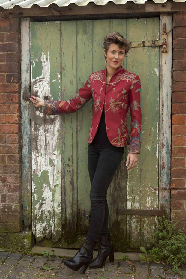 red cashmere fitted jacket, cashmere blazer, womens cashmere jacket, floral jacket, mother of the bride