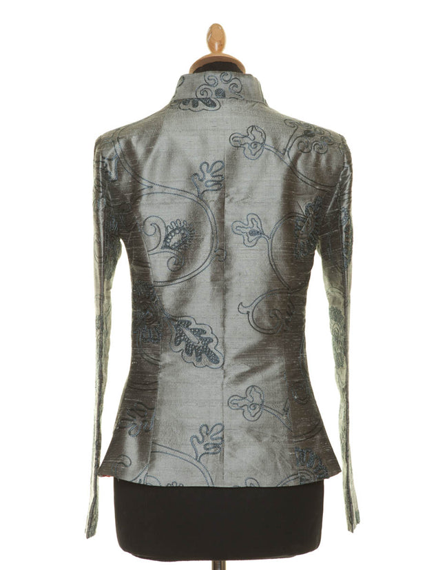 steel grey embroidered silk blazer for women, alternative mother of the bride outfit, smart occasion wear, plus size silk jacket