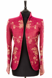 plus size wedding outfit, mother of the bride jacket, silk and cashmere fitted blazer, floral wedding outfit