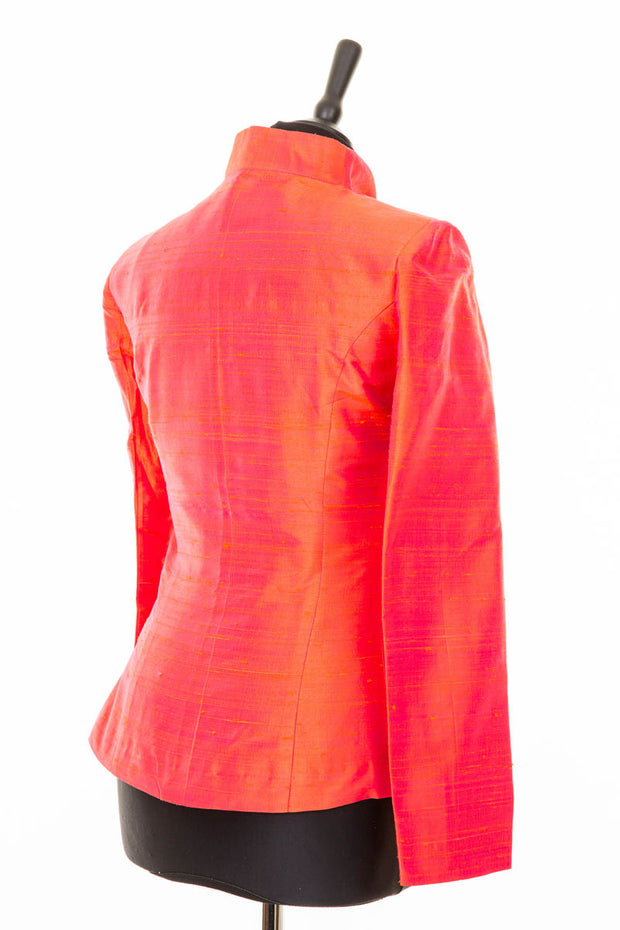 bright orange and pink raw shot silk jacket, womens wedding outfit, alternative mother of the bride outfit, funky silk jacket