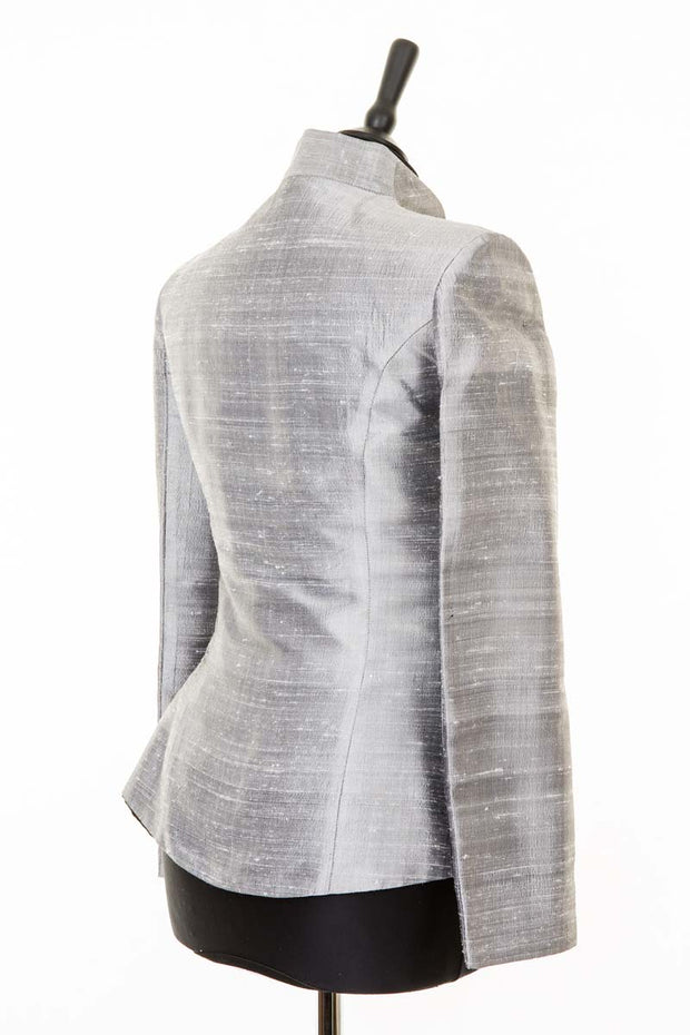 silver raw silk fitted jacket for women, silver plus size mother of the bride outfit, wedding guest jacket, plus size silk opera jacket, ladies races outfit, christmas party outfit
