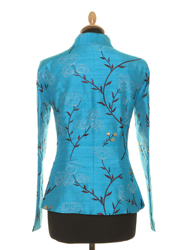 blue silk jacket for the opera, plus size mother of the bride jacket, embroidered silk blazer for women