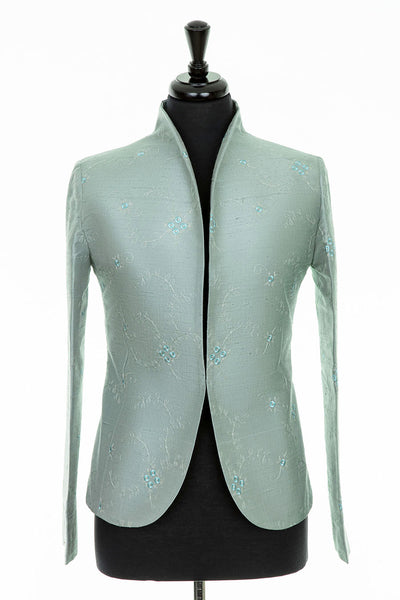 pale blue grey embroidered silk wedding jacket, traditional mother of the bride outfit, fitted jacket for women, silk opera outfit