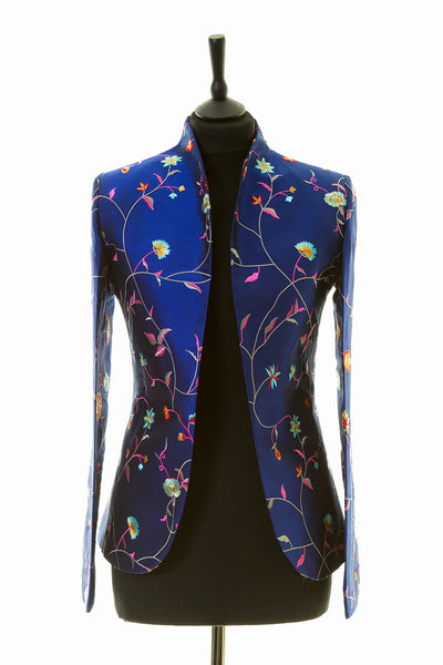 womens bright blue embroidered silk wedding jacket, mother of the bride outfit