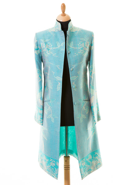 Nehru Coat in Pale Cyan