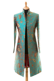 Nehru Coat in Aqua Teal