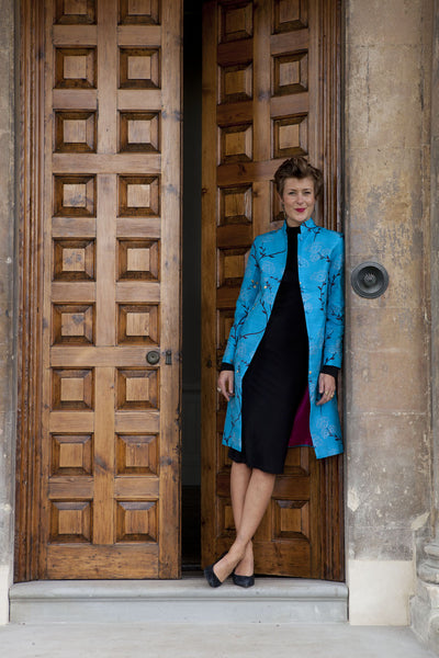 Nehru Coat in Brilliant Turquoise