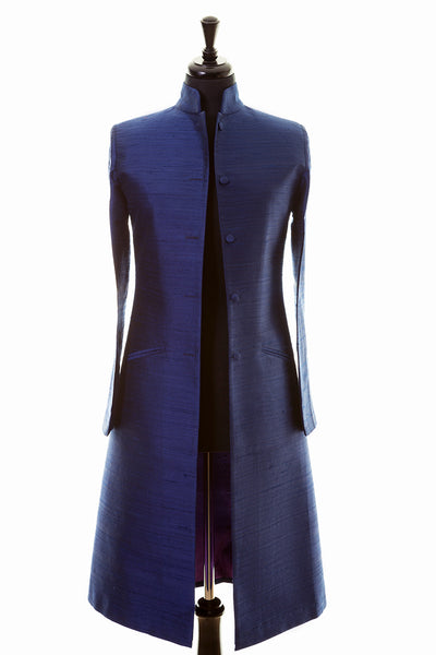 bright royal navy blue raw silk coat, blue mother of the bride outfit, silk plus size wedding coat, outfit ideas for ascot