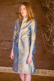 blue and gold embroidered silk wedding outfit, the best mother of the bride outfits, plus size mother of the bride coat, silk opera coat, silk special occasion outfit