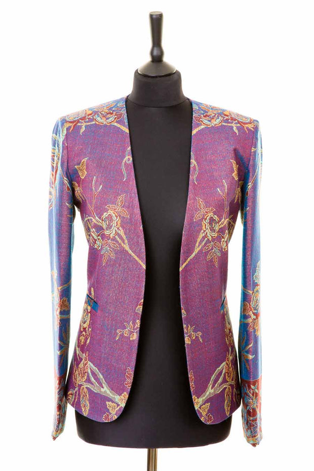 purple blue cashmere fitted jacket for women, collarless blazer, mother of the bride outfit, wedding guest jacket