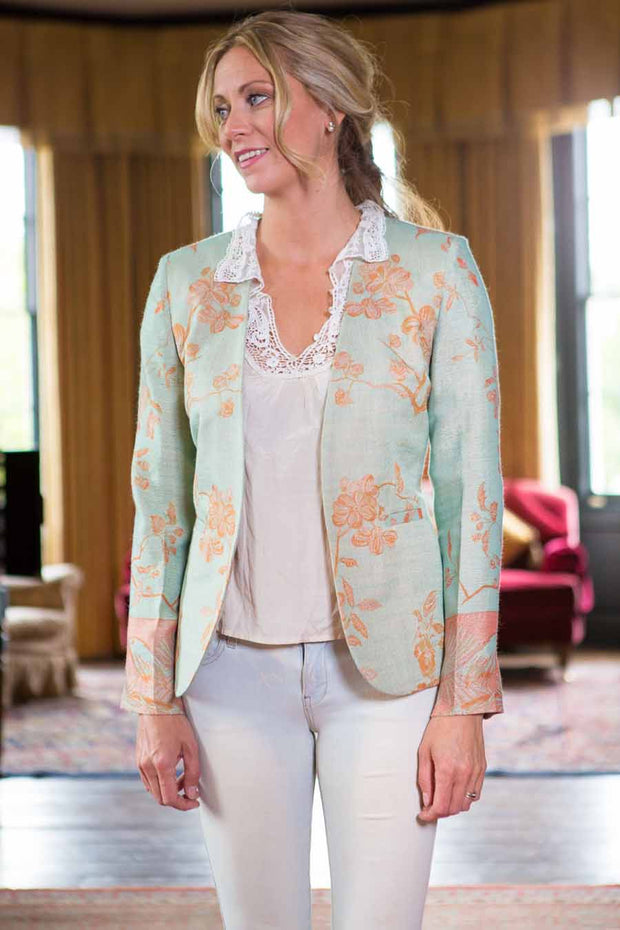 pale green eggshell and apricot fitted jacket for women, collarless blazer, mother of the bride outfit, wedding guest jacket