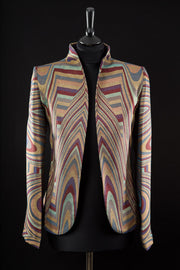 women's art deco striped cashmere jacket, non-traditional wedding outfit, plus size outfit for the races