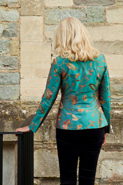 teal embroidered silk tailored jacket, mother of the bride outfit, plus size wedding jacket