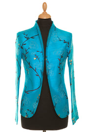 bright turquoise blue embroidered silk fitted jacket, blue silk wedding outfit, plus size mother of the bride outfit