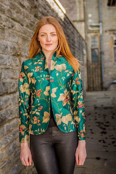 bright teal embroidered silk fitted jacket for women, mother of the bride outfit, silk opera jacket, wedding outfit with trousers, women's suit, plus size wedding outfit