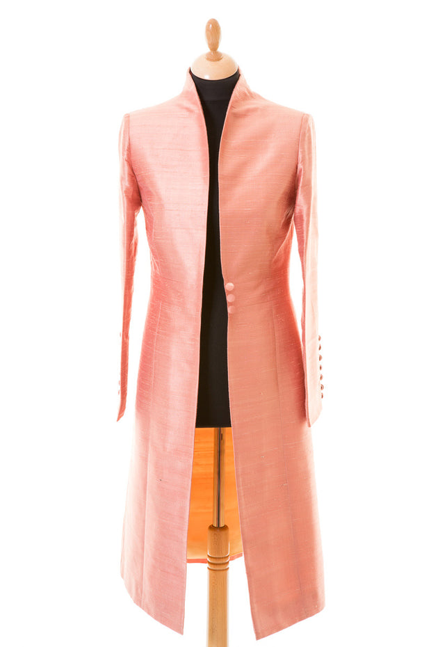 blush pink rose gold raw silk wedding coat, traditional mother of the bride outfit, pink ascot outfit, smart tailored silk coat, plus size wedding guest outfit
