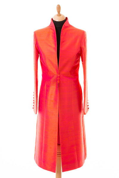 bright orange pink shot raw silk, mother of the bride coat, wedding guest outfit, silk opera coat, black tie wedding outfit, statement coat for ladies day, ascot outfit ideas, plus size silk coat