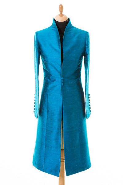 bright teal blue raw silk wedding coat, mother of the bride outfit, special occasion coat, silk opera coat, plus size outfit for races, ascot outfit ideas, fitted silk coat, mother of the groom coat