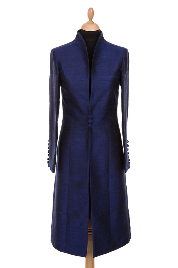bright navy blue raw silk button wedding coat, mother of the bride outfit, plus size wedding coat, mother of the groom coat, navy silk opera coat, ascot outfit ideas