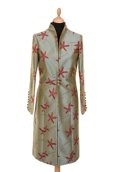 women's silk coat, sage green embroidered silk, plus size mother of the bride outfit, unusual wedding outfit, royal ascot outfit ideas