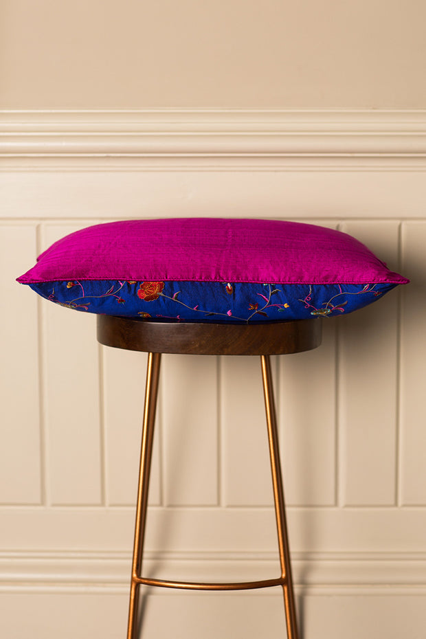 Rectangular Bolster Silk Cushion in African Cobalt