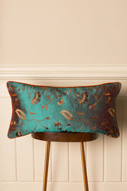 Rectangular Bolster Silk Cushion in Aqua Teal