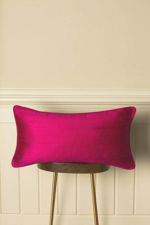 Rectangular Bolster Silk Cushion in Hot Pink