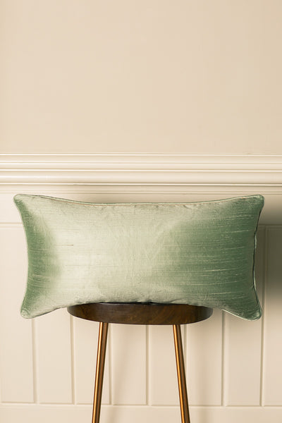 Rectangular Bolster Silk Cushion in Pearl Green