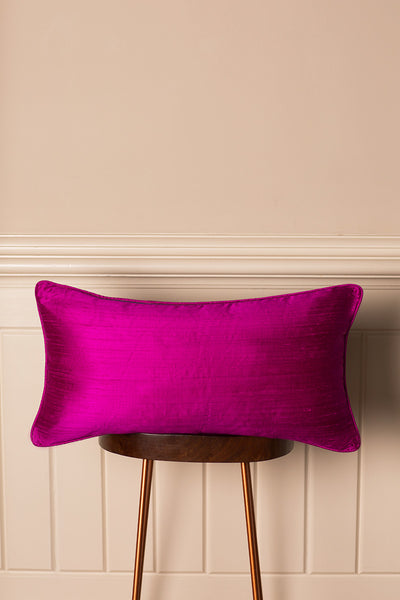 Rectangular Bolster Silk Cushion in Wild Orchid