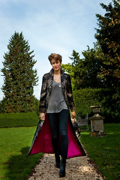 black cashmere floral maxi coat, statement coat for the opera, alternative mother of the bride outfit