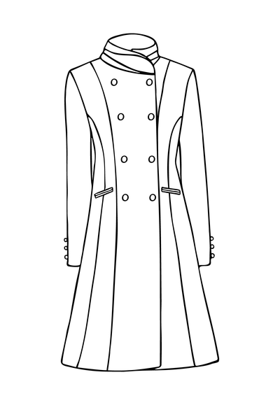 Delphine Coat in Royal Jacquard