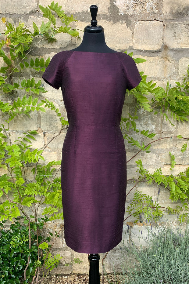 Hepburn Dress in Aubergine 12