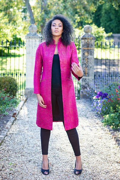 Nehru Coat in Pink Jacquard