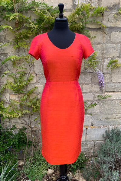 womens-bright-colourful-orange-pink-raw-silk-shift-dress-tailored-wedding-guest-outfit-bright-party-dress-petite