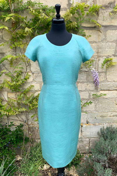 womens-light-turquoise-blue-raw-silk-tailored-shift-dress-mother-of-the-bride-wedding-outfit-sample-sale