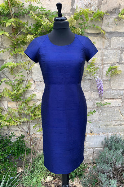 womens-bright-navy-blue-raw-silk-tailored-fitted-shift-dress-scoop-neck-sample-sale
