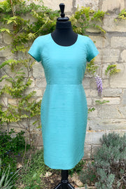 ladies-bright-turquoise-blue-raw-silk-tailored-fitted-shift-dress-mother-of-the-bride-outfit-sample-sale