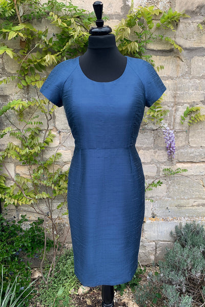 ladies-french-blue-raw-silk-fitted-tailored-shift-dress-sample-sale-wedding-guest-dress