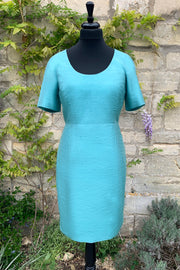 womens-bright-turquoise-blue-summer-wedding-dress-fitted-sik-shift-dress-wedding-guest-outfit-sample-sale