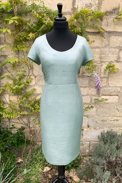womens-pale-blue-grey-raw-silk-tailored-fitted-shift-dress-mother-of-the-bride-plus-size-sample-sale